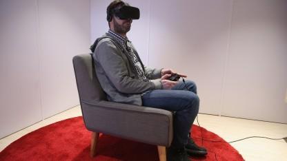 Oculus Rift bei einer Veranstaltung von Facebook in Berlin im Februar 2016