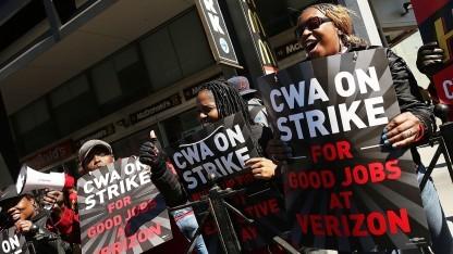 Streikende in New York in Aktion