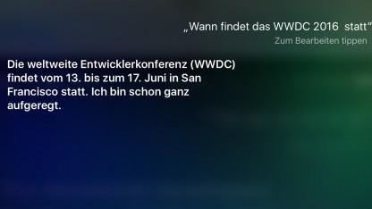 Siri weiß über die WWDC 2016 Bescheid.
