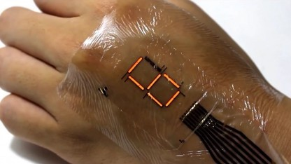 Elektronische Haut mit Leuchtdioden: um Faktor 10 dünner als eine Hautschicht