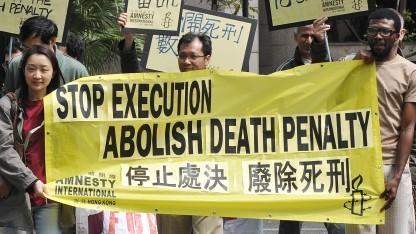 Aktivisten protestieren gegen die Todesstrafe.