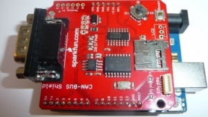 Sparkfun CAN-Bus-Shield für Arduino zur Diagnose an Bussen oder zur Kommunikation über OBD-II