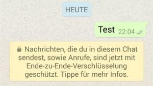 Diesen Hinweis zur Verschlüsselung erhalten nun Whatsapp-Nutzer.