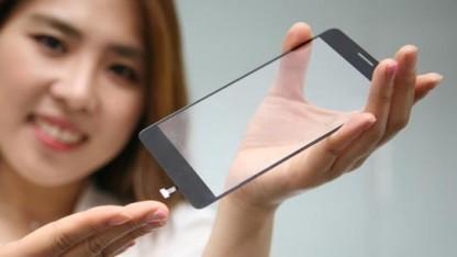Ein Displayglas mit angebrachtem Fingerabdrucksensor