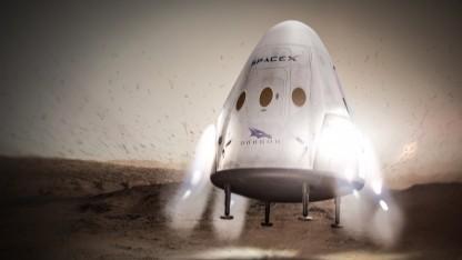 Red Dragon bei der Landung auf dem Mars - künstlerische Darstellung