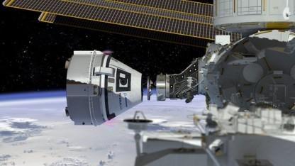 Raumfähre CST-100 an der ISS (Symbolbild): Landung auf festem Boden