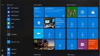 Viele freie Plätze für werbefinanzierte Apps im Windows-10-Startmenü
