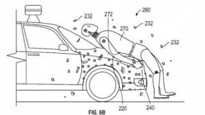 Googles Patent will Fußgänger auf der Motorhaube festkleben.
