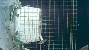 Entfaltbares Modul Beam an der ISS während der gescheiterten Entfaltung