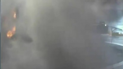 Der letzte Moment der Landung, vor Abbruch des Videostreams