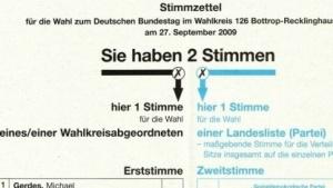 Ein Stimmzettel, hier für die Bundestagswahl 2009