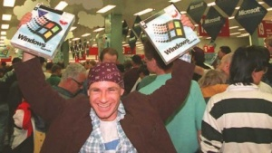 Ein glücklicher Käufer von Windows 95
