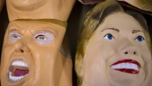 Masken von Donald Trump und Hillary Clinton