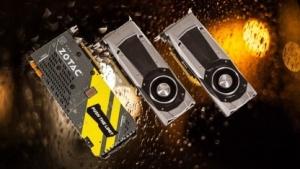 Zotacs 1080 Amp Extreme, dahinter die Geforce GTX 1080 und GTX 1070