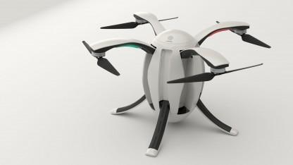 Kameradrohne Power Egg: Füße und Rotoren werden zum Transport eingeklappt