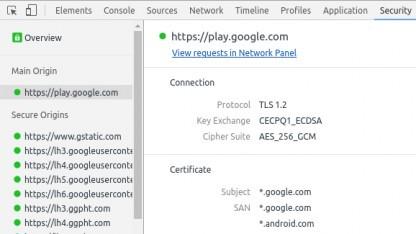 Eine Verbindung zu Googles Play-Store - abgesichert mit CECPQ1.