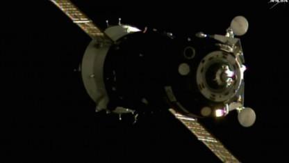 Sojus MS-01 beim Anflug zur ISS