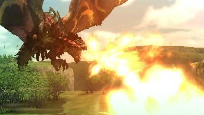 Ein Drache attackiert in Monster Hunter Generations.