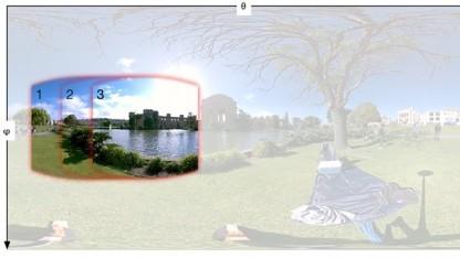 Die Einzelaufnahmen in dem zusammengesetzten Rundumbild