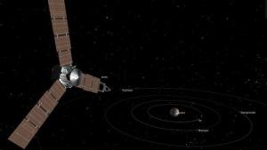 Juno im Anflug auf das Jupiter-System (Symbolbild): Blick unter die Wolken