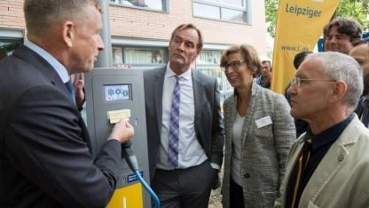Ladelaterne in Leipzig: Jede Laterne kann nachgerüstet werden.