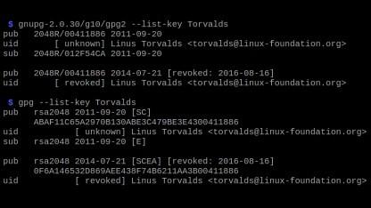 Zwei Keys mit derselben Key-ID - in neueren GnuPG-Versionen wird der Fingerprint angezeigt, der eine Unterscheidung ermöglicht.