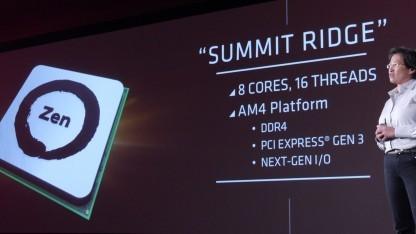 AMDs Lisa Su stellt Summit Ridge vor.