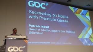 Patrick Naud bei seinem Vortrag auf der GDC Europe
