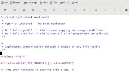 Der Quellcode der Channels von Vim, dargestellt in Vim.