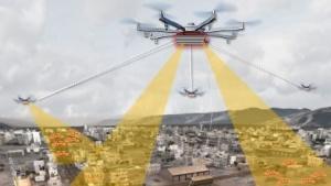 Aerial Dragnet: Fliegende Sensorplattform überwacht ein Stadtviertel.