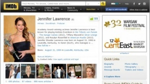 Die Schauspielerin Jennifer Lawrance bei IMDB