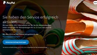 Die Startseite für den neuen Service