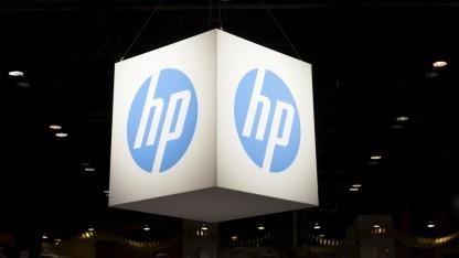 Logo von Hewlett-Packard (HP) auf der Microsoft Ignite in Chicago, Illinois