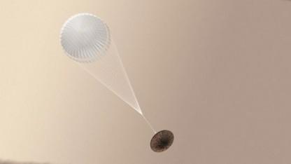 Schiaparelli am Fallschirm: Aufschlag mit über 500 km/h