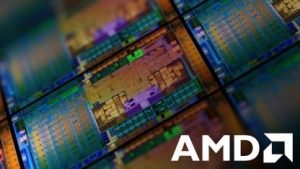 AMD-Logo vor einem Wafer