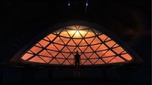 Der simulierte Blick auf den Mars, vom geplanten SpaceX-Raumschiff aus
