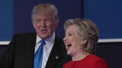 Clinton und Trump während des ersten TV-Duells