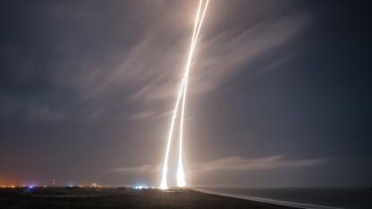 Start und Landung einer Falcon 9 Rakete: Die Wiederverwendung wird entscheidend sein.