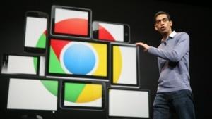 Google-CEO Sundar Pichai mit dem Chrome-Logo