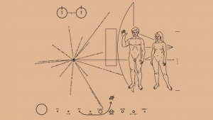 Schon die goldene Plakette von Pioneer zeigt die Position der Erde durch Pulsare.