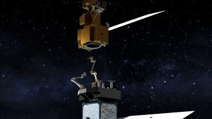 Satelliten sollen mit Roboterarmen eingefangen werden.