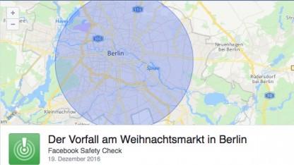 Der Vorfall am Weihnachtsmarkt in Berlin, heißt es jetzt im Safety Check.
