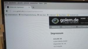 Das Impressum von Golem.de