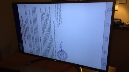 Der Lockscreen der Ransomware Flocker auf LGs Smart-TV