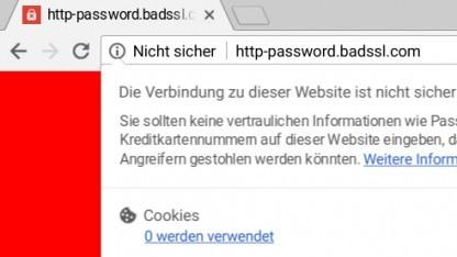 Chrome 56 warnt wie Firefox auch vor schlecht abgesicherten Login-Formularen.