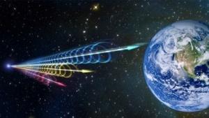 Künstlerische Darstellung eines Fast Radio Burst: ausgesandt, als es auf der Erde nur Einzeller gab