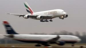 Airbus A380 bei der Landung in München
