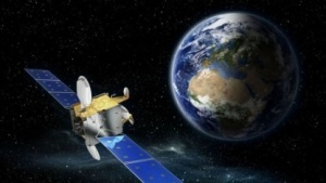 Der neue SmallGEO Satellit in künstlerischer Darstellung