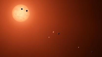 Künstlerische Darstellung der sieben Planeten um Trappist-1