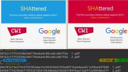 Unterschiedlicher Inhalt, identischer SHA-1-Hash - diese PDF-Dokumente zeigen, dass Google SHA-1 gebrochen hat.
